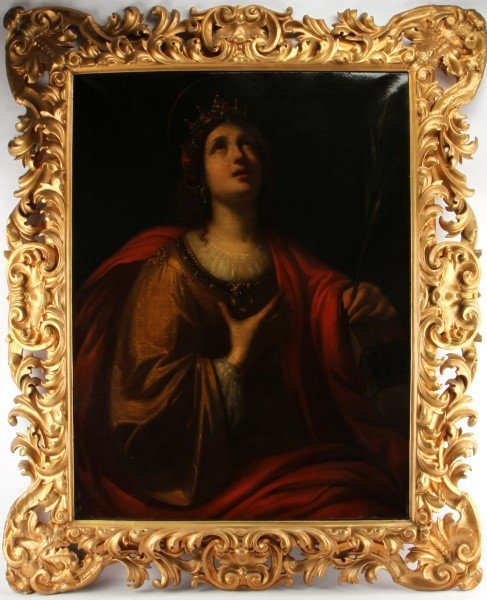 17/18TH CENTURY ST CATHERINE OIL CANVAS PAINTING