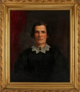 19th C Victorian Oil On Canvas Portrait Of A Woman