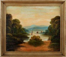 19th C American Primitive Hudson River Painting