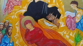 Russian Hand Painted Icon Of The Birth Of Christ