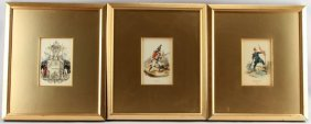19th Century Hand Colored Engraving Plates Lot
