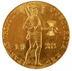 1928 Netherlands Gold Ducat Uncirculated Coin