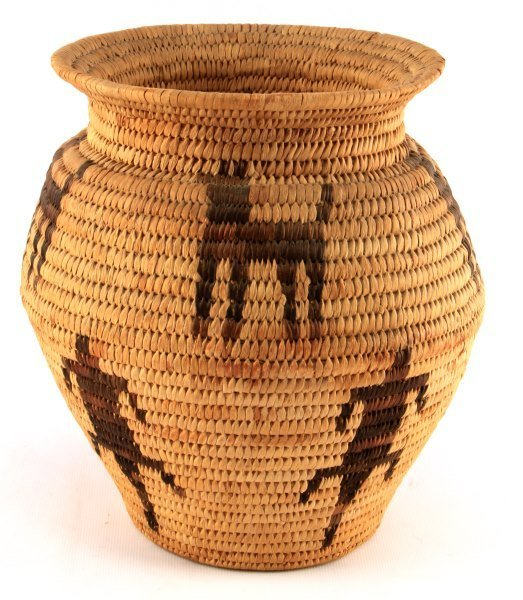 A PIMA OLLA BASKET WITH ANIMAL DECORATIONS