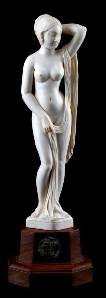 "20th C Pre-ban Ivory Carving Female Nude 10"" Tall"