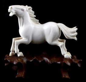 """Chinese Ivory Galloping Horse Carving 5"""" Tall"""
