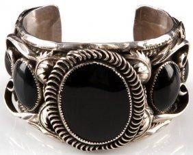 Joe Paul Signed Sterling & Onyx Cuff Bracelet