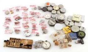 Dealers Lot Of Watchmakers Parts And Vintage Tins