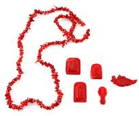 LOT OF SIX CHINESE RED CORAL JEWELRY ITEMS