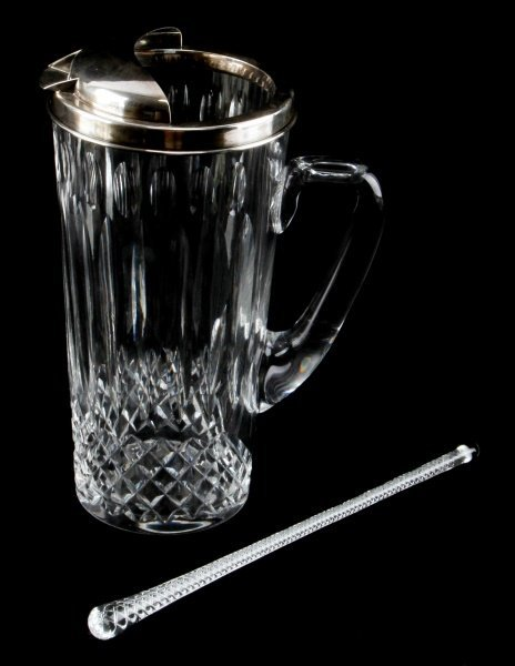 CUT GLASS PITCHER WITH STERLING HAWKES TOP
