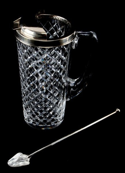 TIFFANY & CO STERLING CUT GLASS COCKTAIL PITCHER
