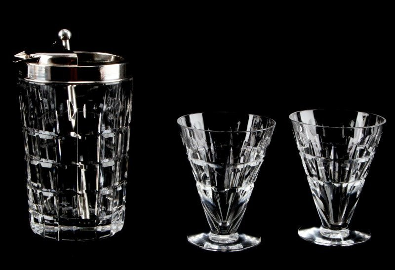 HAWKES CARTIER SILVER MARTINI SERVER WITH GLASSES