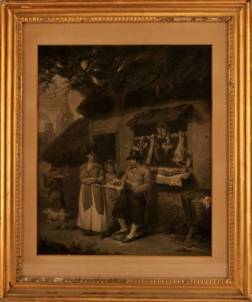 19TH C. ENGRAVING OF A MEAT SELLER AND HIS FAMILY