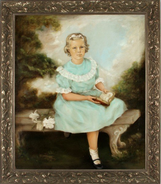 """20TH CENTURY PORTRAIT OF A YOUNG GIRL 34"""" BY 39"""""""