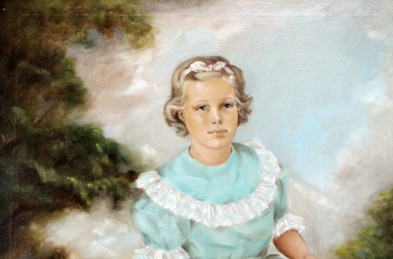 """20TH CENTURY PORTRAIT OF A YOUNG GIRL 34"""" BY 39"""" - 4"""