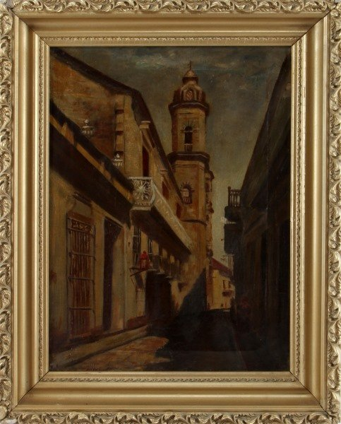 19TH C EUROPEAN STREET PAINTING OIL ON CANVAS
