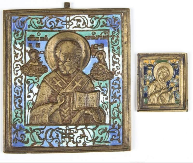 A PAIR OF ENAMELED BRONZE 19TH C. RUSSIAN ICONS