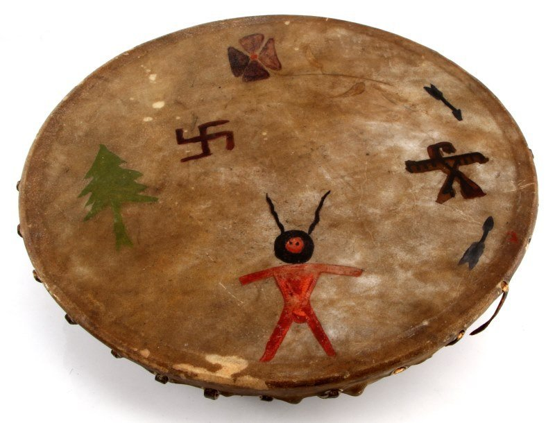 VINTAGE HAND PAINTED NATIVE AMERICAN INDIAN DRUM