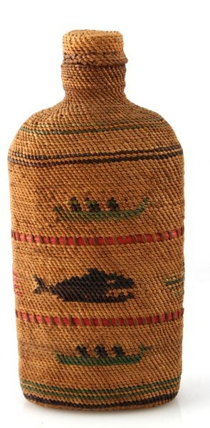 PACIFIC NORTHWEST INDIAN BASKET COVERED BOTTLE