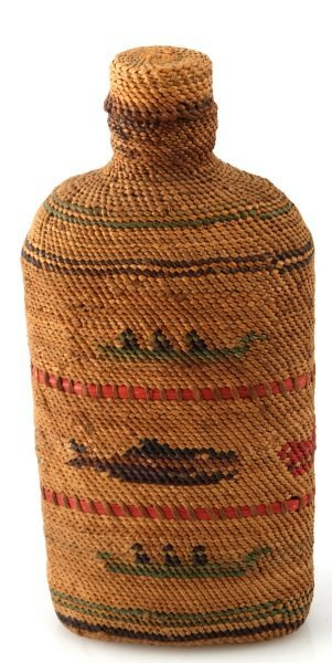PACIFIC NORTHWEST INDIAN BASKET COVERED BOTTLE - 2