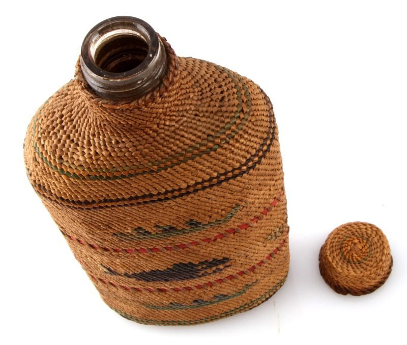 PACIFIC NORTHWEST INDIAN BASKET COVERED BOTTLE - 3