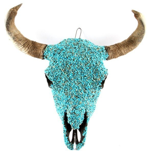 TURQUOISE ENCRUSTED BUFFALO SKULL NATIVE AMERICAN