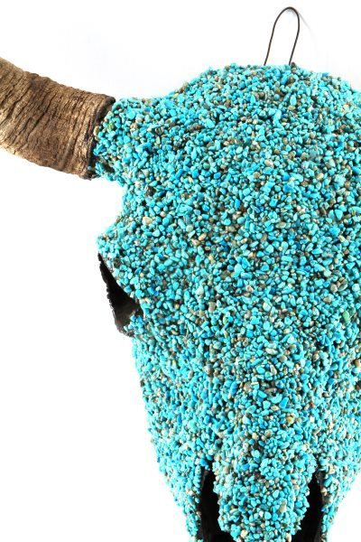 TURQUOISE ENCRUSTED BUFFALO SKULL NATIVE AMERICAN - 2