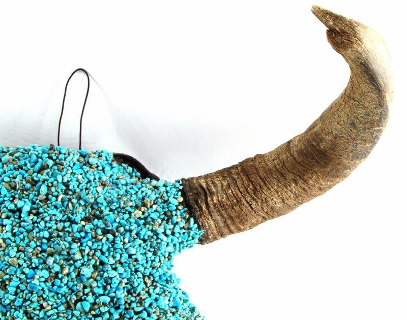 TURQUOISE ENCRUSTED BUFFALO SKULL NATIVE AMERICAN - 3