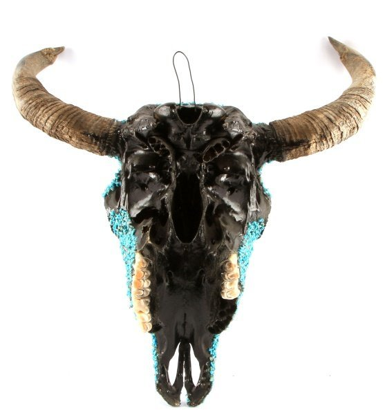 TURQUOISE ENCRUSTED BUFFALO SKULL NATIVE AMERICAN - 4