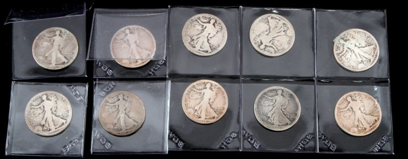 COLLECTION OF EARLY KEY DATE WALKING LIBERTY HALF