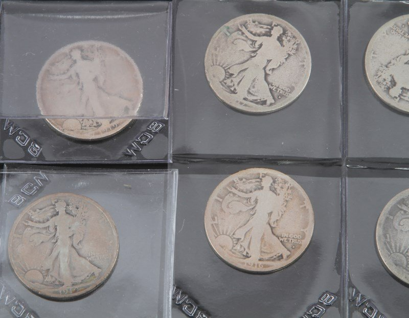 COLLECTION OF EARLY KEY DATE WALKING LIBERTY HALF - 3