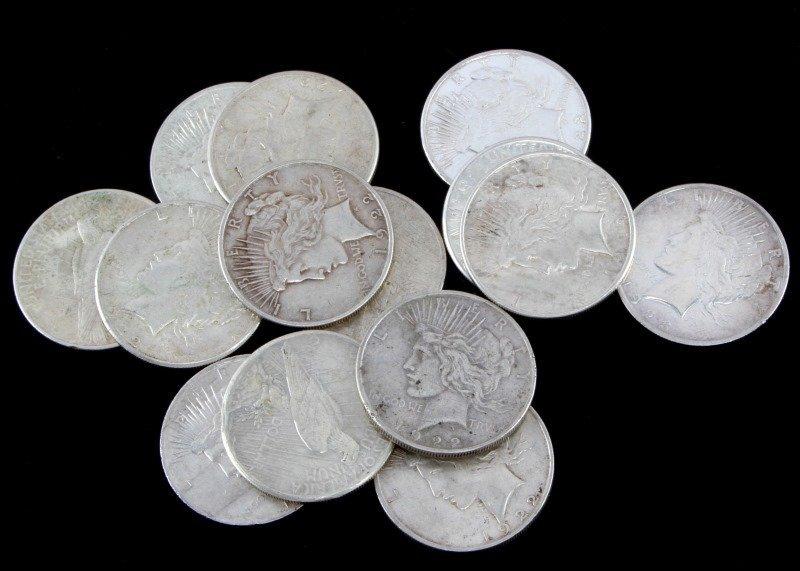 14 SILVER PEACE DOLLAR COIN LOT