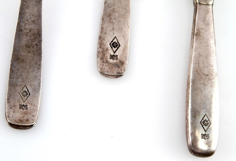 3 PEICE LOT HITLER YOUTH MESSHALL SILVERWARE - 2