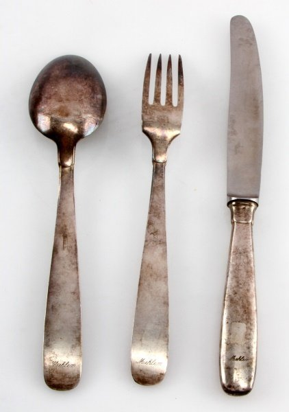 3 PEICE LOT HITLER YOUTH MESSHALL SILVERWARE - 3