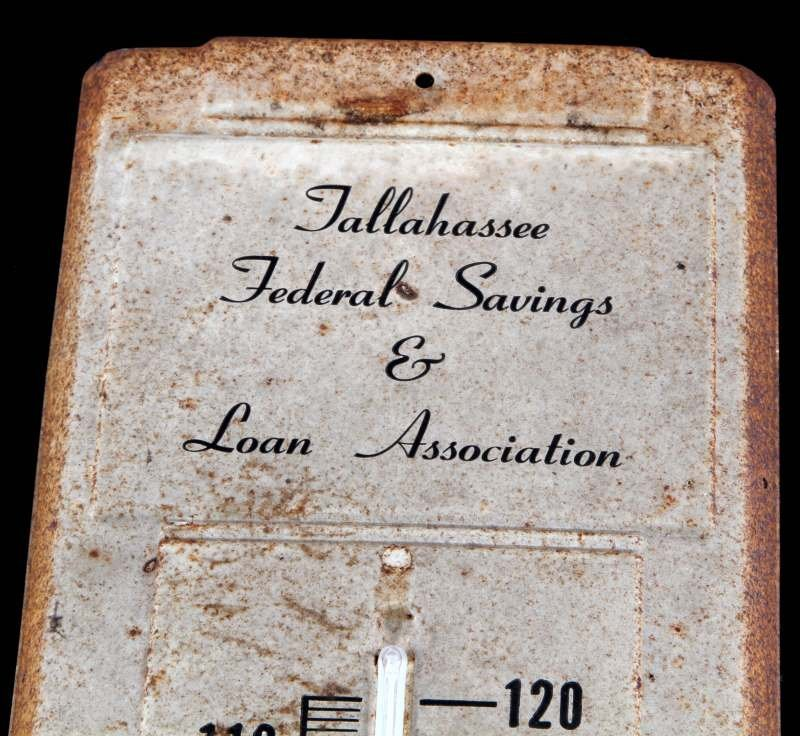 ANTIQUE TALLAHASSEE FEDERAL SAVINGS THERMOMETER - 2