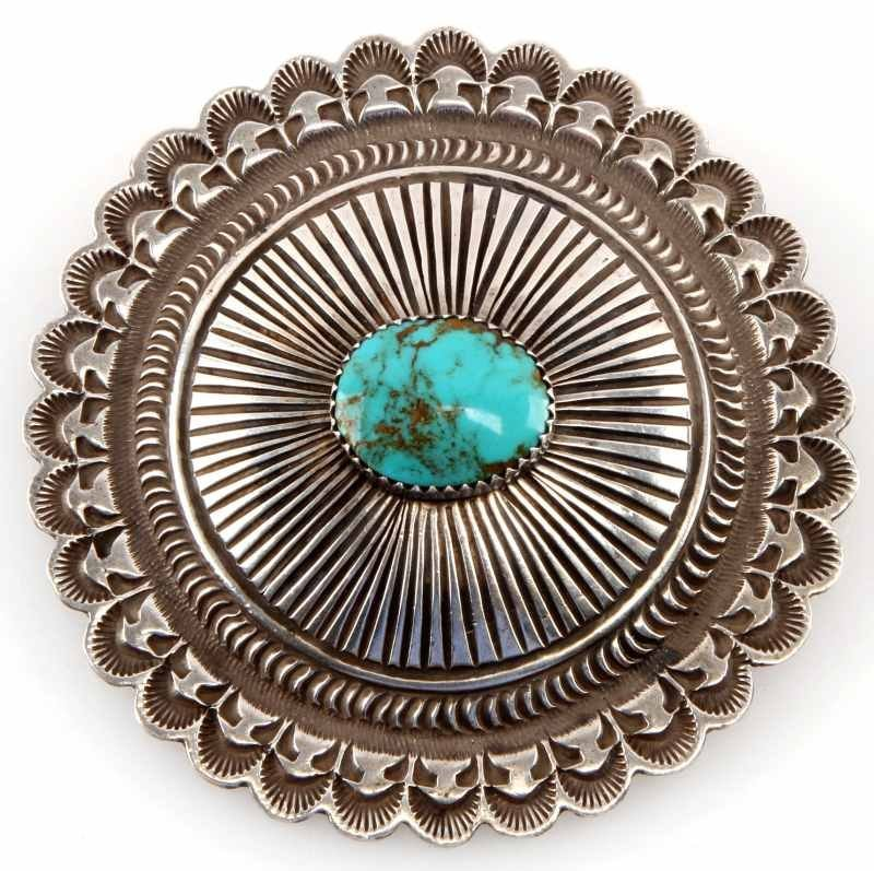 STERLING SILVER AND TURQUOISE CARVED BROOCH SUN