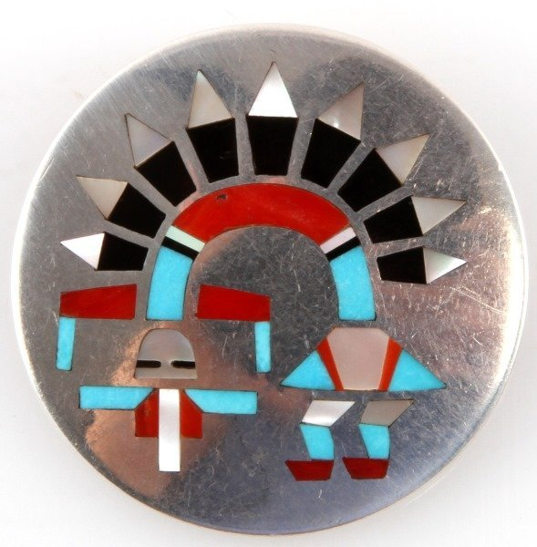 SIGNED SILVER WITH STONE INLAY KACHINA BROOCH