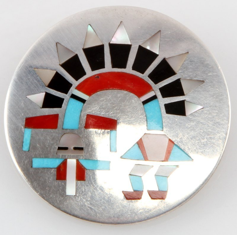 SIGNED SILVER WITH STONE INLAY KACHINA BROOCH - 2