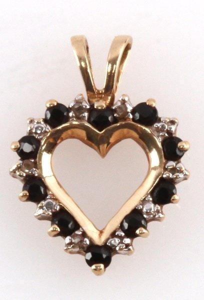 10 KARAT YELLOW GOLD HEART PENDANT DIAMOND & ONYX