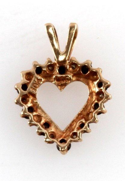 10 KARAT YELLOW GOLD HEART PENDANT DIAMOND & ONYX - 2