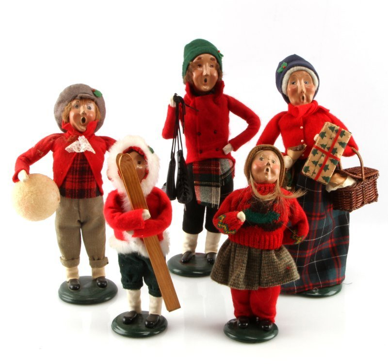 LOT OF FIVE BYERS CHOICE THE CAROLERS DOLLS