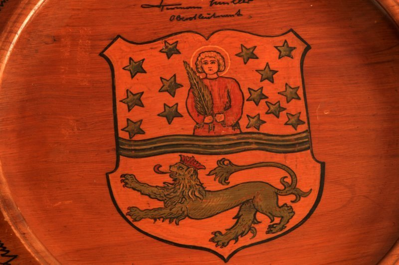 WWII WOODEN PLAQUE FROM CITY TO LUFTWAFFE LT. COL. - 2