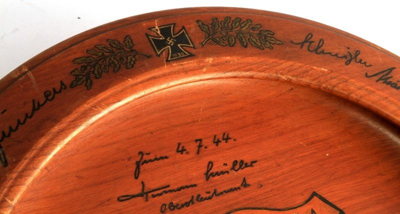 WWII WOODEN PLAQUE FROM CITY TO LUFTWAFFE LT. COL. - 3