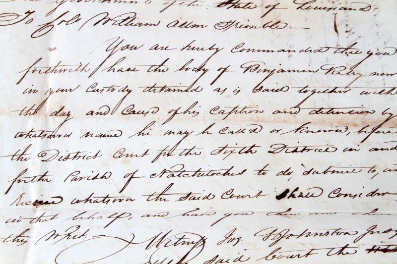 1817 LOUISIANA  MILITARY DOCUMENT TO HOLD PRISONER - 2