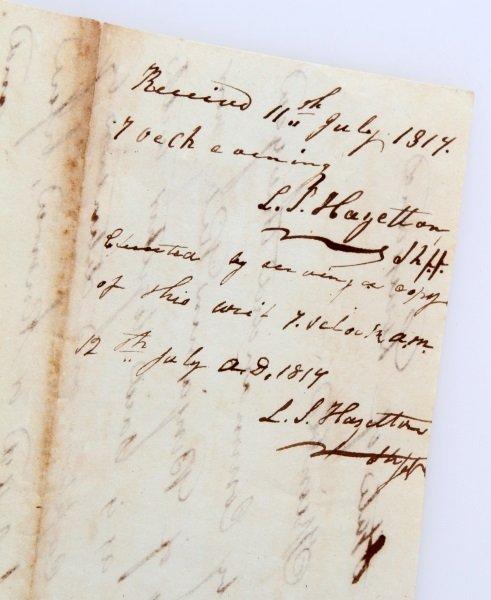 1817 LOUISIANA  MILITARY DOCUMENT TO HOLD PRISONER - 5