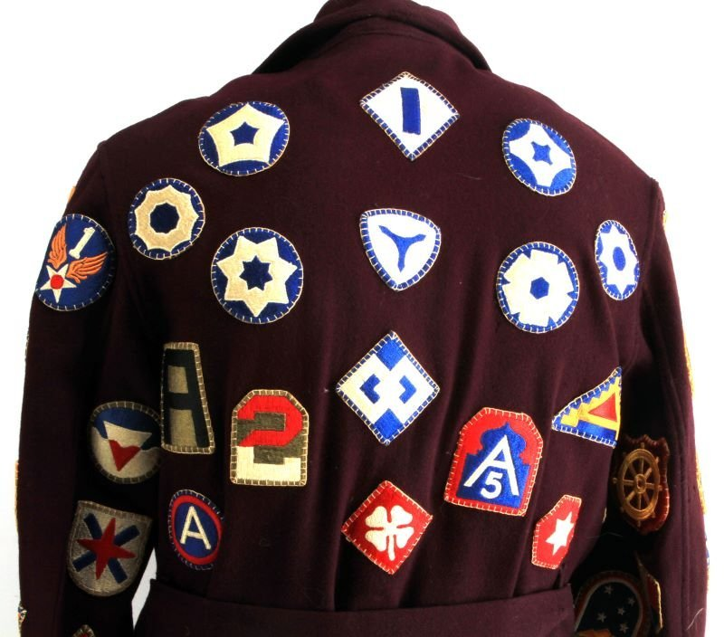 RARE WWII PATCH SEWN ROBE OVER 100 DIFFERENT - 5