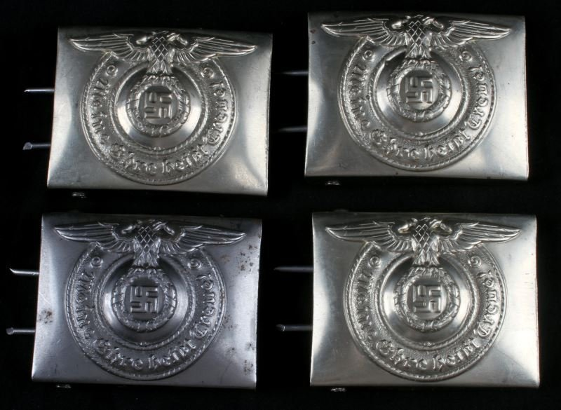 4 WWII GERMAN THIRD REICH REPRO SS BELT BUCKLES