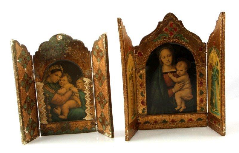 2 ANTIQUE TRIFOLD TRIPTIK CHRISTAIN ICONS