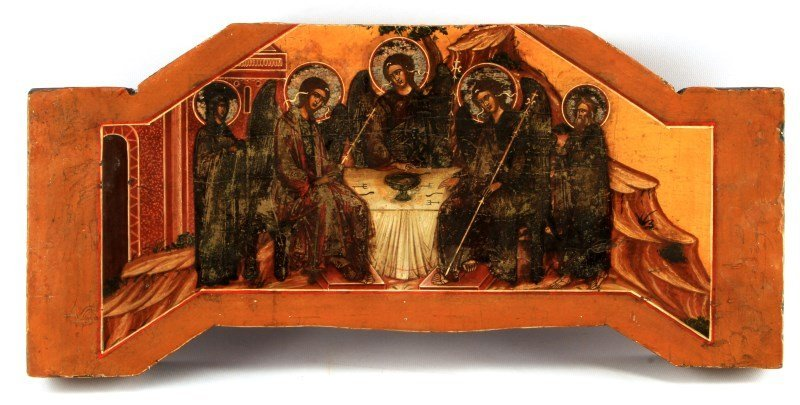 19TH CENTURY TRINITY RUSSIAN ICON 19.75 BY 9 INCH