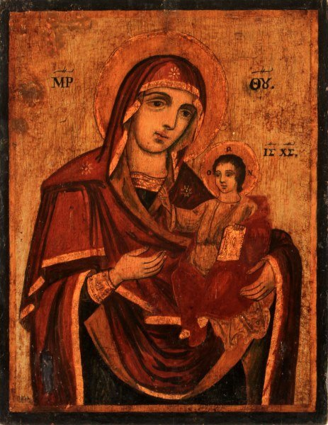 19TH CENTURY GREEK ICON: THE MOTHER OF GOD & CHILD