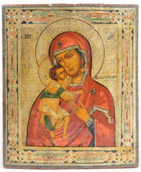 19TH CENTURY ICON OF FEDOROVSKAYA MOTHER OF GOD